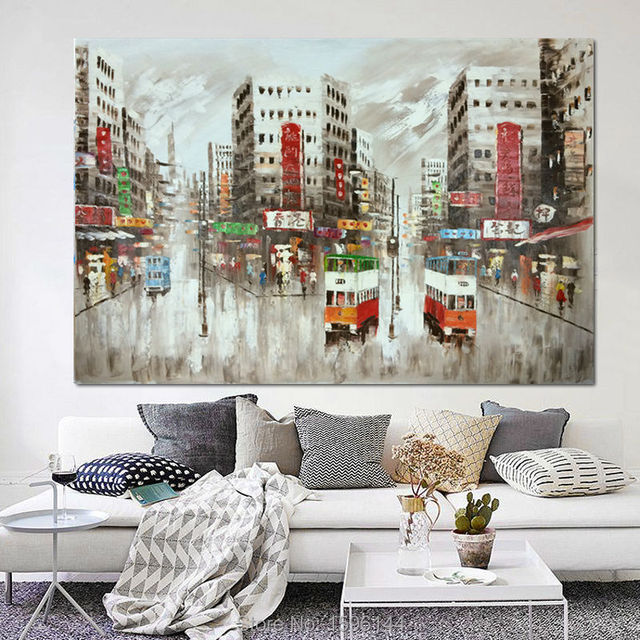 Large Size Abstract Hongkong Street Landscape Oil Painting Hand Painted Canvas Wall Picture Home Decor Hotel