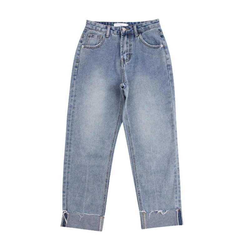 JUJULAND الأساسية الجينز الكلاسيكية النساء عالية الخصر الجينز خمر أمي نمط جينز رفيع عالية الجودة كاوبوي الدنيم السراويل 3118