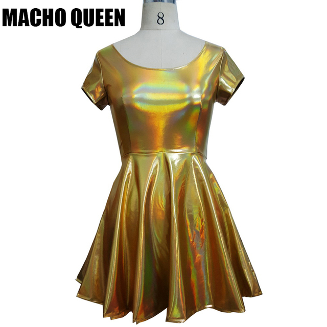 Summer Holographic Skater Dress Women Music Festival Rave Dress Clothes  Outfits Vintage Laser Hologram Foil Fabric ab0c1c6d753b
