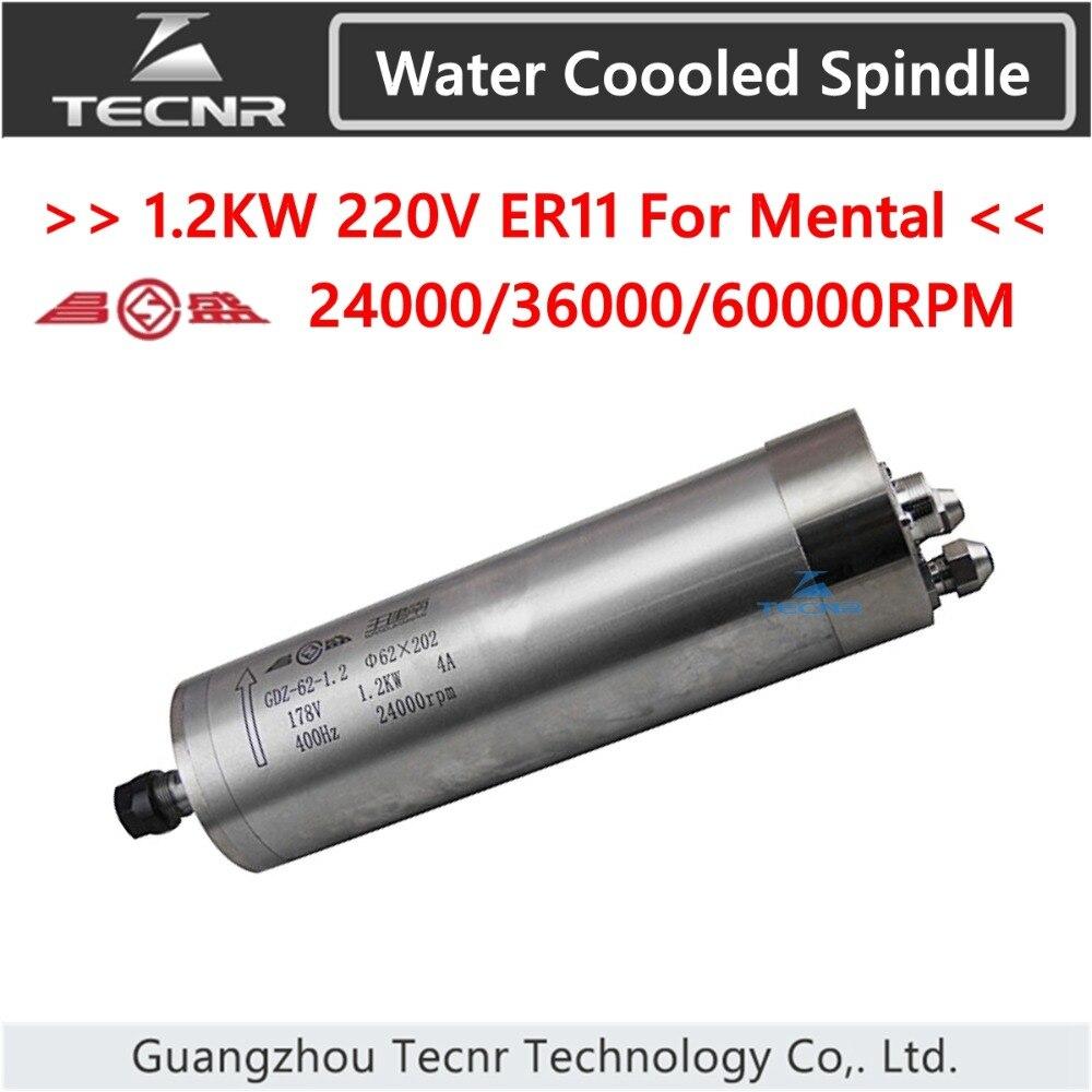 TECNR 1.2KW raffreddato ad acqua motore mandrino di fresatura mandrino 24000 rpm 36000 rpm 60000 rpm per il taglio e l'incisione mentale GDZ-62-1.2