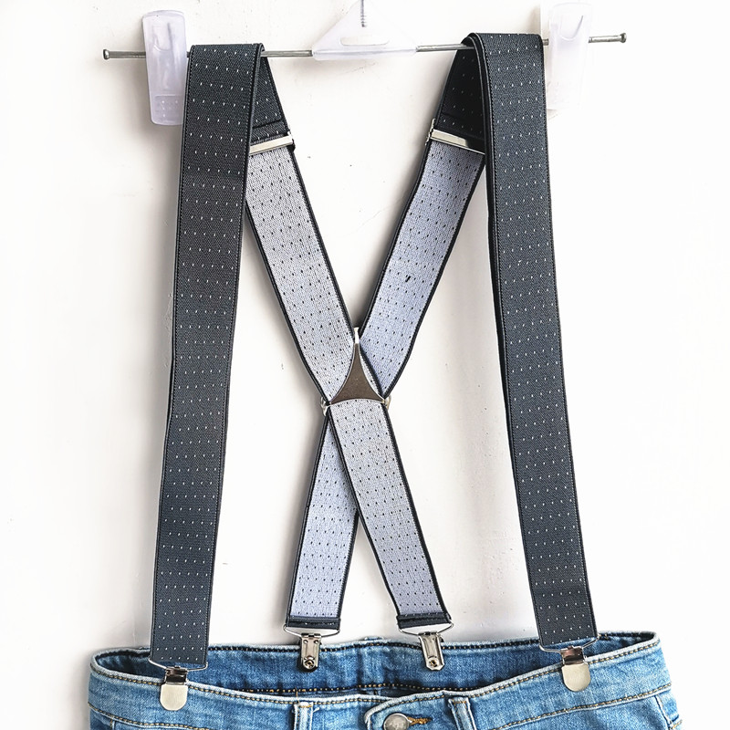 Dark Gray Dot Suspender Men Women Adult  Suspenders Adjustable Elastic X Back Clips On Print Custom Size Brace BD059