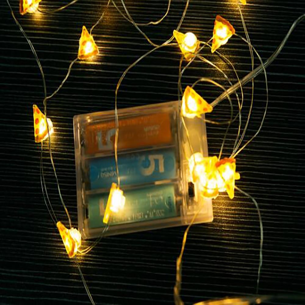 String Licht LED Pizza Form 2 mt 20 LEDs Silber Draht ...