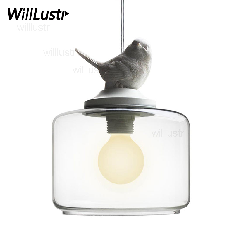modern bird glass pendant lamp nordic home bedroom hotel dinning room restaurant loft cafe suspension lamp Antoine Laverdiere nordic wrought iron simple modern pendant lamp with led bulb dinning room light cafe lamp e27 110v 220v free shipping