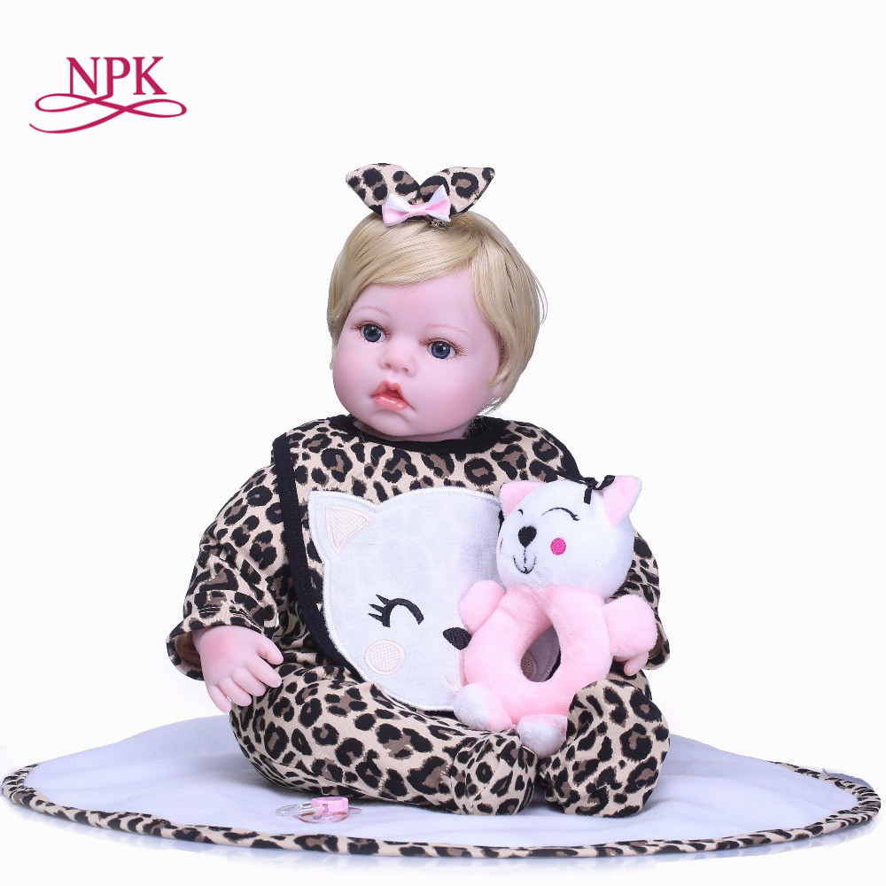 NPK 55cm Silicone Reborn cute Baby Doll Kids Playmate Gift for Girls Baby Alive Soft Toys for Bouquets Doll Bebe Reborn Toys