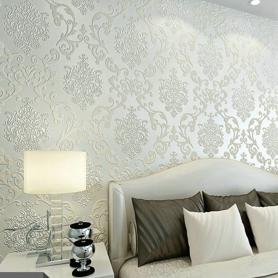 Silver damask wallpaper hd wallpapers blog for Silver wallpaper for walls