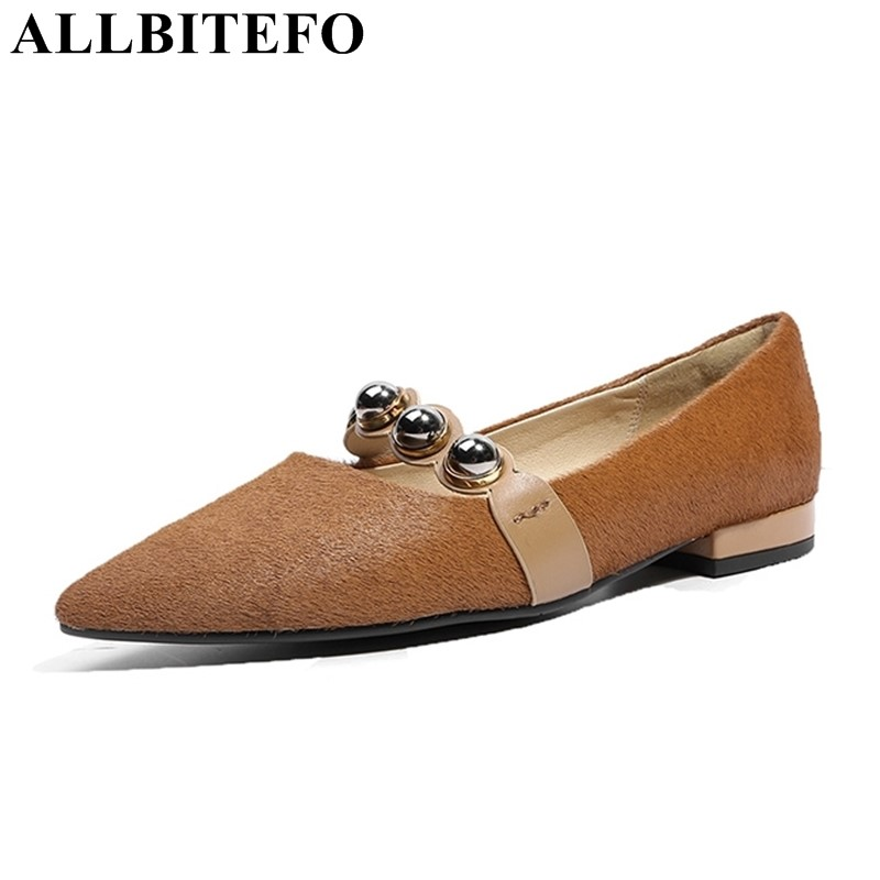 ALLBITEFO 2018 new spring genuine leather+Horsehair pointed toe women flats fashion rivets casual and comfortable flat shoes new 2017 spring summer women shoes pointed toe high quality brand fashion womens flats ladies plus size 41 sweet flock t179