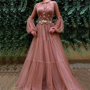 Blush Muslim Evening Dresses A-Line Long Sleeves Flowers Tulle Islamic Dubai Kaftan Saudi Arabic Elegant Long Evening Gowns