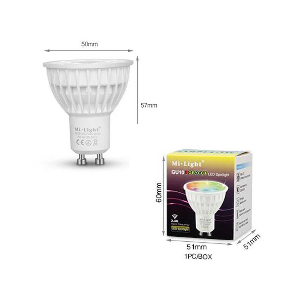 SXZM Milight GU10 4W LED spotlight RGB+CCT indoor lamp AC85-265V 16 million colors changing,adjustable brightness colorful light