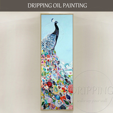 Hand-painted Super Long Vertical Rectangle Oil Painting Modern Abstract Peacock Rich Colors