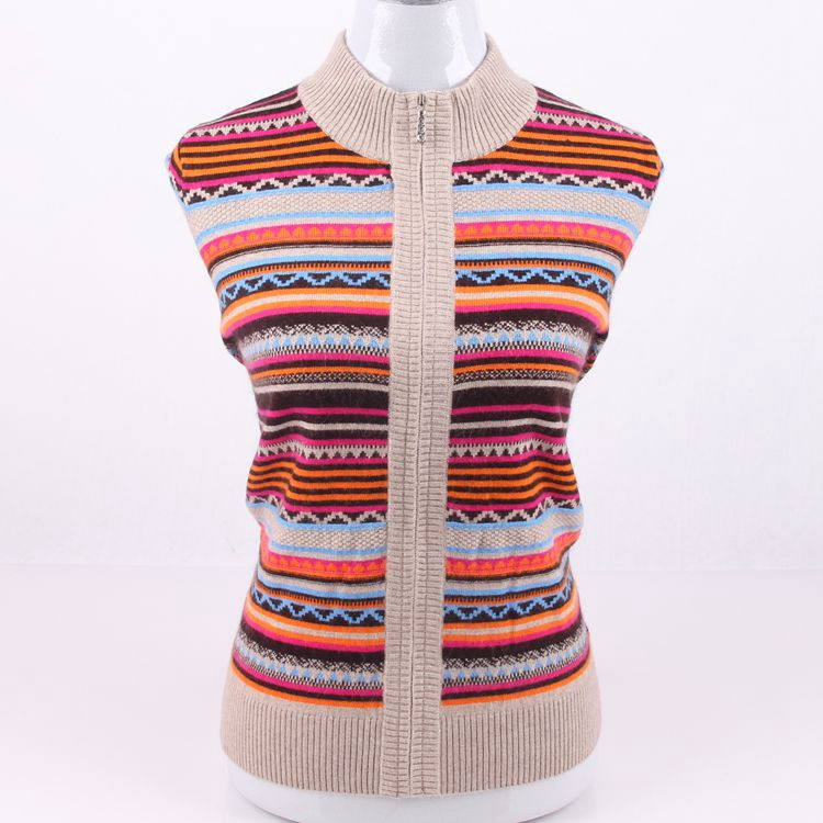 Mujeres Colorido Gran Moda Rayado Ue Zipper 5xl Cachemira Punto Suéter s Grueso Tamaño Cardigan Jacquard Cuello 100 wXrT6Rq8w
