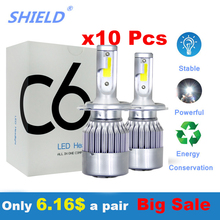 10 пар в партии Автомобильные светодиодные лампы для фар H7 H4 H1 H11 H3 H13 H27 9005 9007 9012 Led 12V 6000K автомобильные лампы высокой мощности