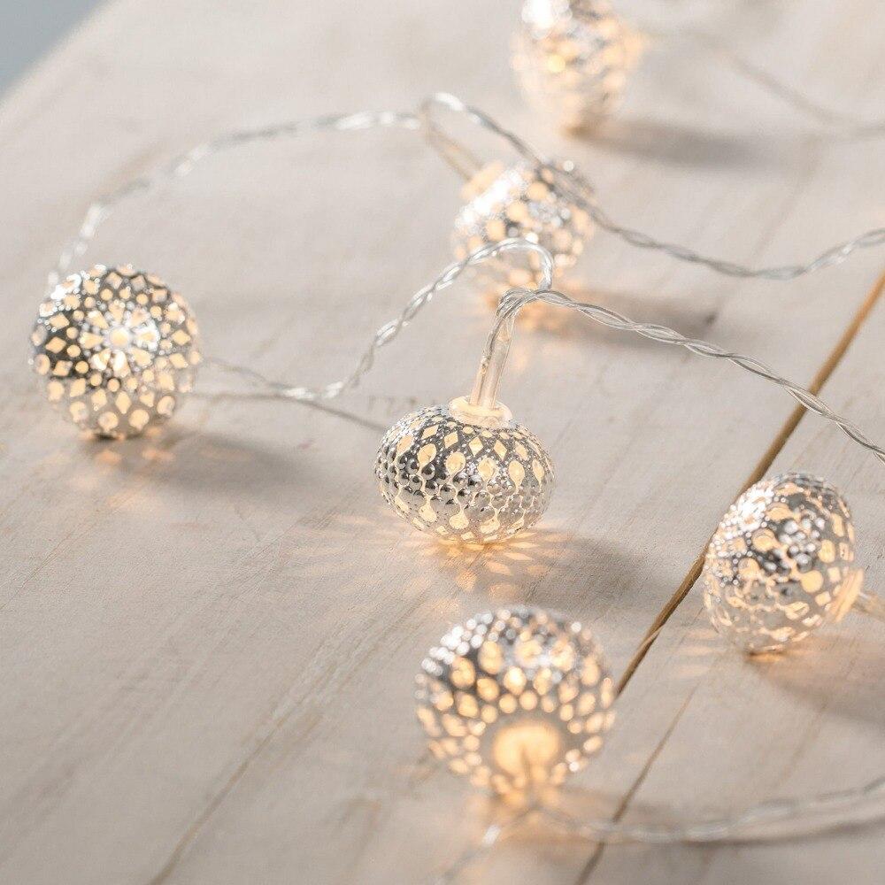 2M 10LED Battery Metal Ball Heart Fairy Lights String Festoon Bulb Starry Lights for Festival Christmas Party Wedding Decoration
