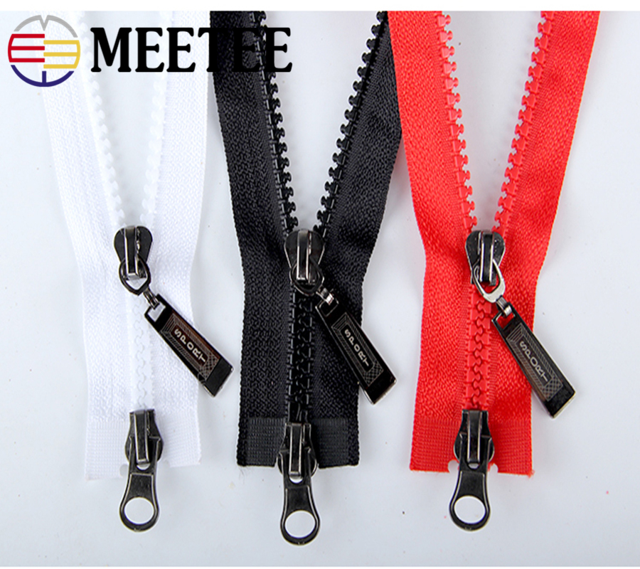Meetee 5pcs 5#multicolor 80cm Resin Double Open-end zipper for Down jacket Coat DIY Cloth Accessories Sewing Crafts AP2471