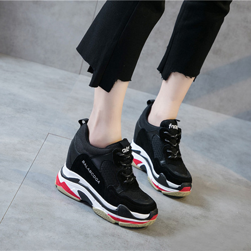 Fashion Super High Heel 10cm Lady Casual White/Black Shoes Women Sneakers Platform Wedges Height Increasing Shoes Women 2018