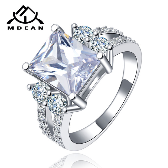 MDEAN White Gold Color Vintage Rings for Women AAA Zircon Jewelry Ring Wedding E