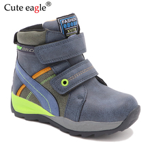 Cute eagle Winter Boys Snow Boots New Waterproof  Leather Mid-Calf Childs Shoes Plush Rubber for EU 27-32