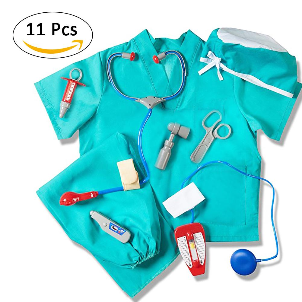 Blue Doctor Clothes Play Costume Professional Doctor Assembly Decoration Doctor Play Props Children Play House Toy Role Play image