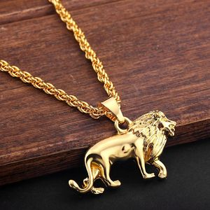 New Fashion Alloy Lion Animal Pendant Necklace Hip-hop Necklaces Long Metal Sweater Chain For Men Women Jewelry Gifts