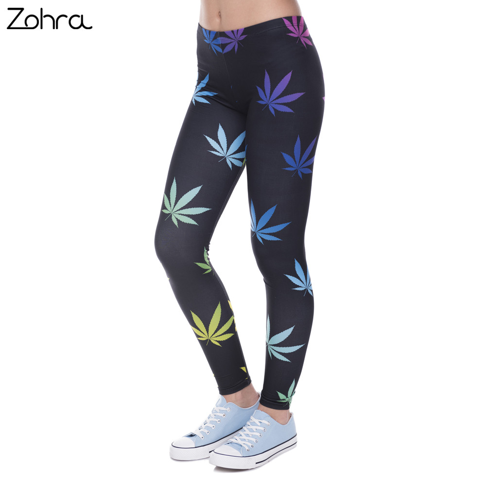 Zohra New Arrival Legging Färg Weeds Printed Leggins for Women Fashion Leggings Sexiga Slim Legins Women Pants 100% Brand New