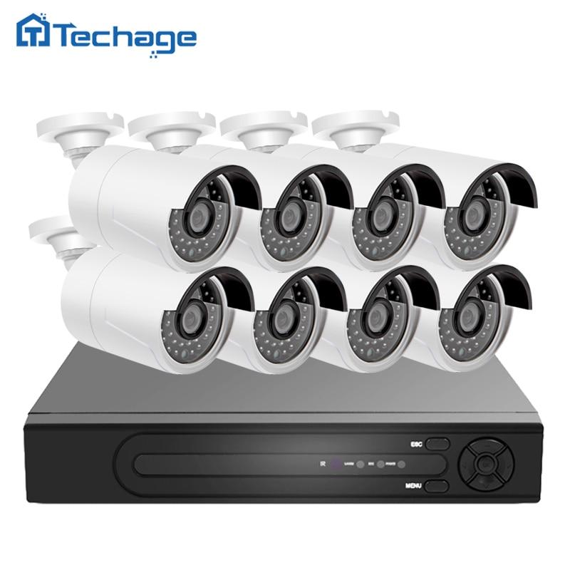 Techage H 265 4K 8CH POE NVR CCTV System 8PCS 4 0MP 2592 1520 IP font
