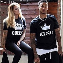 YELITE NEW KING QUEEN Letter Printed Black Tshirts 2019 Summer Casual Cotton Short Sleeve Tees Tops Brand Loose Couple T shirt