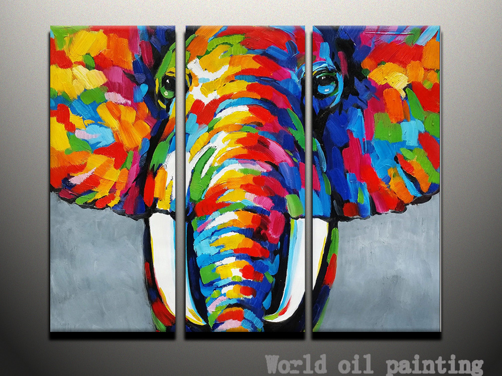 hand painted abstract wall animal color elephant a sef of 3 pieces oil painting on canvas. Black Bedroom Furniture Sets. Home Design Ideas