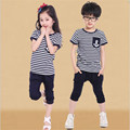 Sport Style 2016 Cool Summer Baby Boys Sets NavyBlue Striped Short-Sleeve+Cotton Pants High Quality Sport Casual Kids Clothes