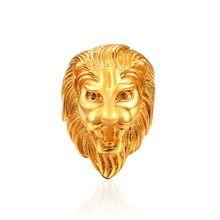 ae45bd10e926 Venta caliente de acero de titanio de plata Color oro cabeza de león dedo  anillo Punk