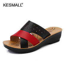 leather sandals women shoes summer middle-aged mother in the