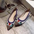 DreamShining Moda Feminina Sapatos Mulher Apartamentos de Alta Qualidade PU Casual Confortável de Borracha Dedo Apontado Mulheres Planas Sapato Apartamentos Novos