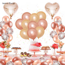 Twins Party Gold Rose Balloons Confetti Wedding decorations Babyshower Table Decoration Bride Shower Weddings Favors александр давиденко песня индустриализации