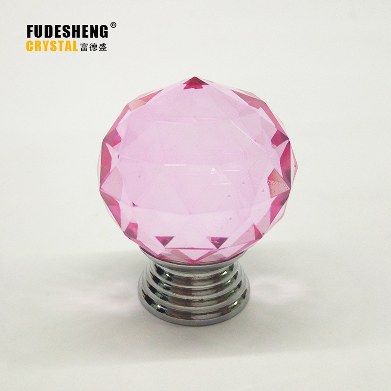 K9 Pink Crystal Handle 1PCS 30mm Crystal Ball Drawer Knobs With Zinc Base Chrome Finish Furniture