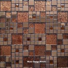 Azulejo de mosaico de vidrio de espejo de hoja de oro de Metal europeo Retro, azulejo para pared de ladrillo de chimenea de cintura de ducha de baño de exposición