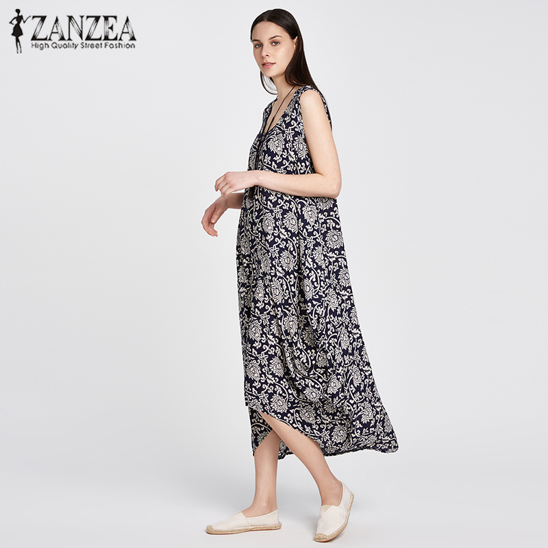 2018 ZANZEA Women Vintage Floral Print O Neck Sleeveless Asymmetric Hem Summer Rayon Loose Party Dress Long Vestido Plus Size