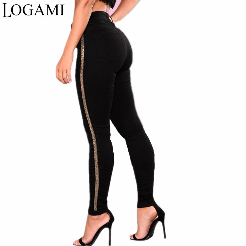 LOGAMI High Waist Skinny   Jeans   Woman Patchwork Women   Jeans   Pants Pencil   Jeans   Femme Black