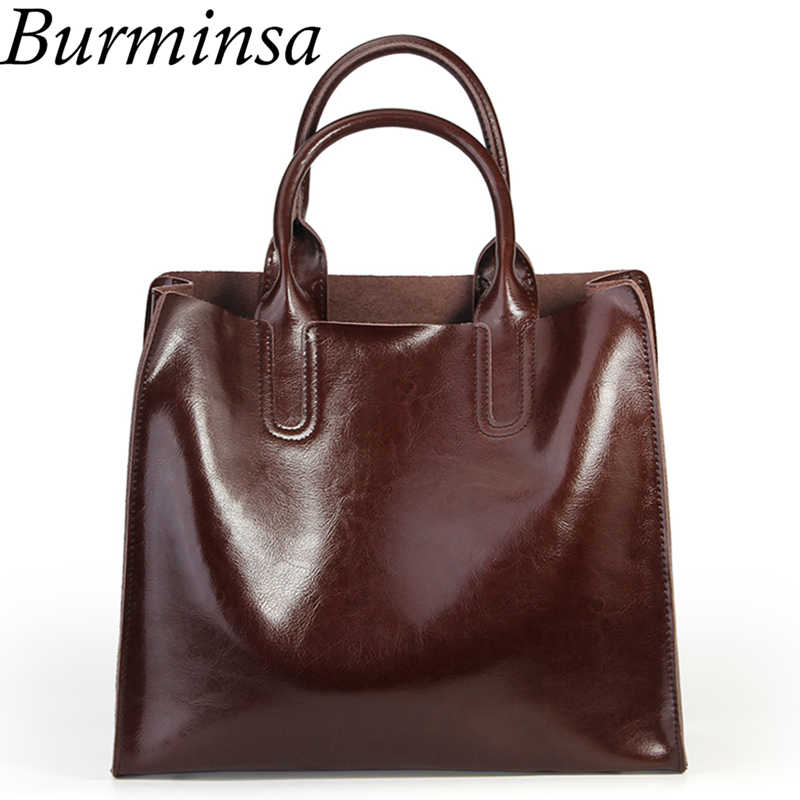 Burminsa Ladies Genuine Leather Bags Vintage Female Shoulder Messenger Bags Large Capacity Women Handbag 2019 Black Coffee Brown