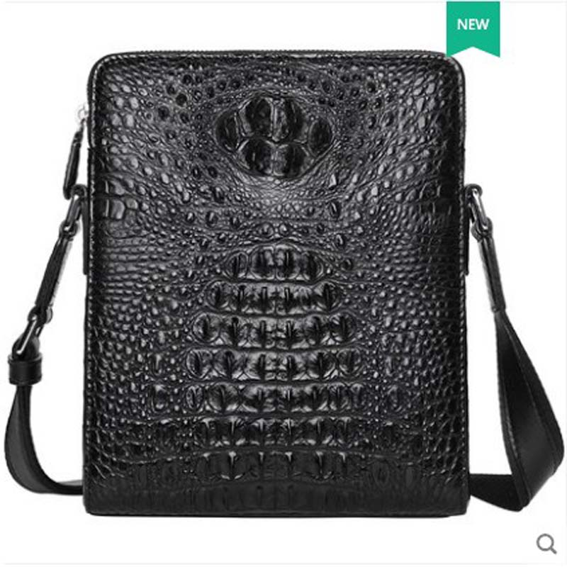 pugete 2019 new Crocodile skin man bag leather business single shoulder bag youth leisure cross bag fashion crocodile man bag