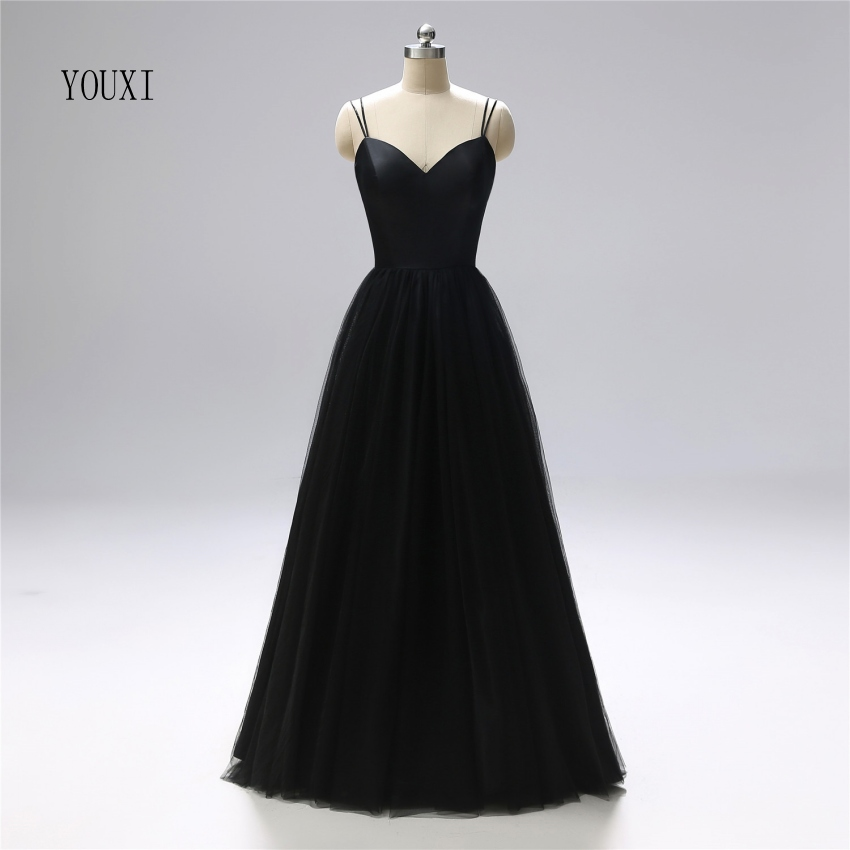 Sexy Spaghetti Strap Black Prom Dresses 2019 New Real Photos Long Satin Tulle Formal Evening Party