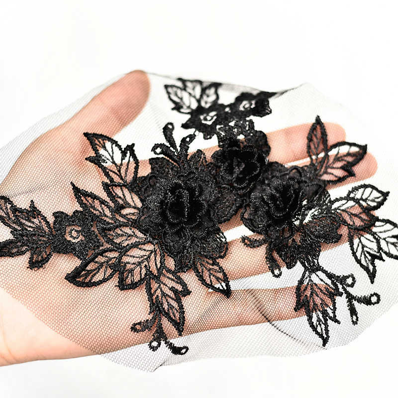 In rilievo 3D Fiori Pizzo Abito Da Sposa Applique Decorazione Floreale Patch per il FAI DA TE Clorhes Costume Dress Decor Scrapbooking