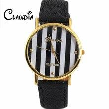 2016 CLAUDIA Vogue Basic Geneva Stripes Print PU Leather-based Girl Man Analog Quartz Wrist Watch Free Delivery Feminino Relogio