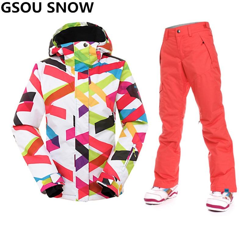 Prix pour Gsou Neige-30 Degrés l'hiver ski costume femmes Étanche 10 K snowboard veste Sport ski veste femmes de neige en plein air ski costumes