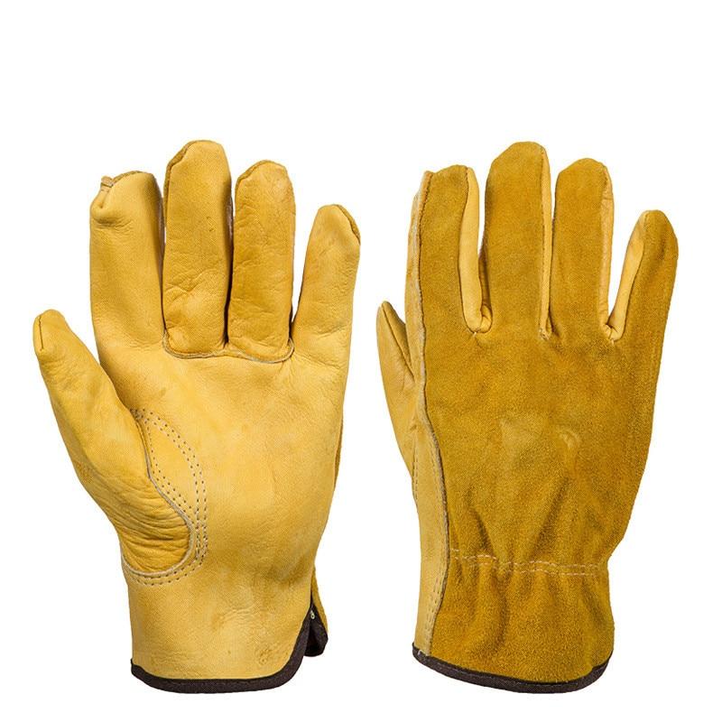 1Pair Cowhide Workplace Safety Gloves Flower Gardening Applies Rubber Puncture-proof Wear-resistant Planting Flower Arrangement