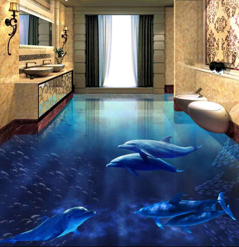 Custom 3d flooring PVC vinyl floor Dolphins 3D floor wallpaper waterproof self-adhesive PVC 3D wallpaper