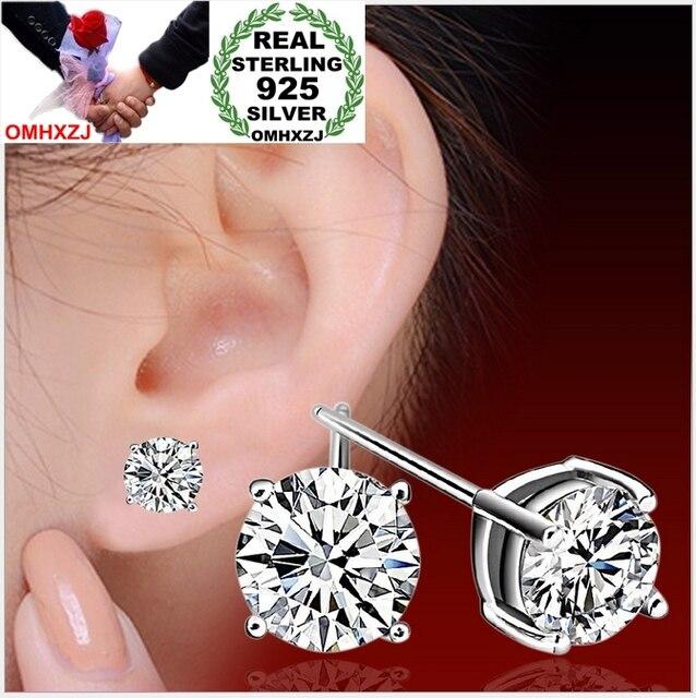 OMHXZJ SỈ Trang sức đáng yêu người phụ nữ Bốn móng vuốt AAA Zircon khoan BẤT S925 STERLING SILVER STUD EARRINGS NGƯỜI ĐÀN ÔNG YS98