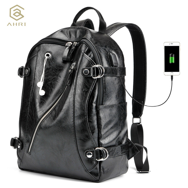 4cd6c3361621 AHRI NEW 2017 Men Backpack PU Leather Men s Shoulder Bags Fashion Male  Business Casual for School Boy Vintage Black Backpack Men