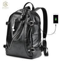AHRI NEW 2017 Men Backpack PU Leather Men's Shoulder Bags Fashion Male Business Casual for School Boy Vintage Black Backpack Men