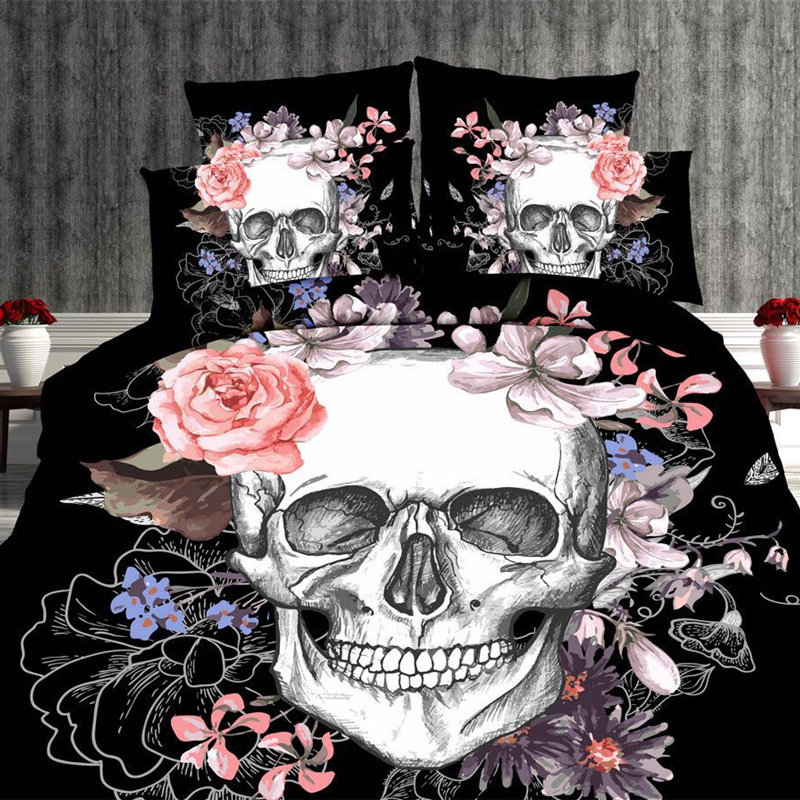 3D personality four sets of sky skull British style 4pcs Duvet Cover Sets Soft Polyester Bed Linen Flat Bed Sheet3D personality four sets of sky skull British style 4pcs Duvet Cover Sets Soft Polyester Bed Linen Flat Bed Sheet