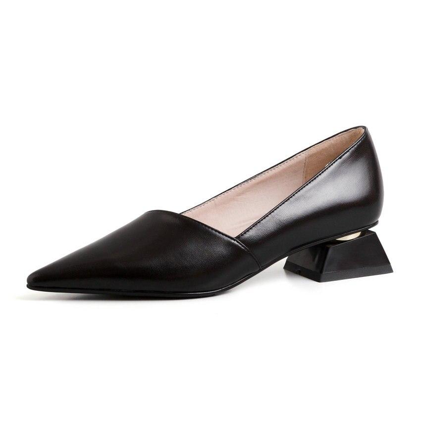 Eokkar 2019 السيدات وأشار اصبع القدم الذهب مضخات الانزلاق على الصنادل الضحلة أحذية مكتب سيدة اللباس الأسود أحذية منخفضة الكعب حجم 34 43-في أحذية نسائية من أحذية على  مجموعة 2