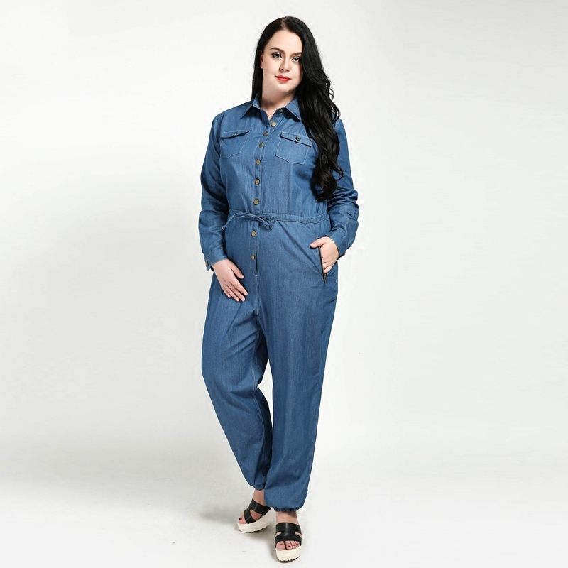 1264f84995b4 New 2018 Spring Autumn Women Casual Denim Rompers Long Sleeves Overalls  Jumpsuit Jeans Plus Size Rompers 4XL 5XL 6XL 7XL W157-in Jumpsuits from  Women s ...
