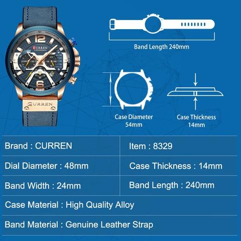 CURREN Casual Sport Watches for Men Blue Top Brand Luxury Military Leather Wrist Watch Man Clock Fashion Chronograph Wristwatch Multan